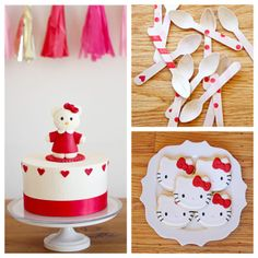 Hello Kitty! This party idea is so fun and don't you just love the wooden spoons decorated with washi tape? #kidscakes #girlscakes #hellokitty