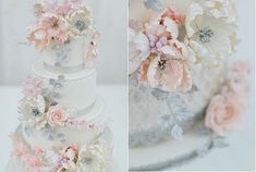 wedding cake with jewelled centres silver centres Lisa Roberts Cakes