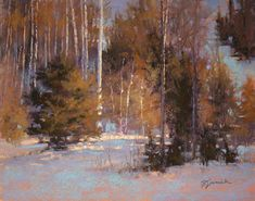 Winter Radiance by Barbara Jaenicke Pastel ~ 11 x 14 Pastel Landscape, Contemporary Landscape, Winter Landscape, Watercolor Landscape, Abstract Landscape, Classic Paintings, Paintings I Love, Nature Paintings, Landscape Paintings