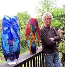 Noel Hart... Brilliance inspired Colourful parrots.  The artist with his beautiful creations.  I love them!