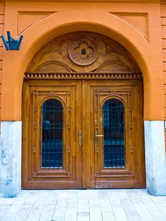 Striking wooden door in Budapest, Hungary.  Europe. travel. front door. Hungary.