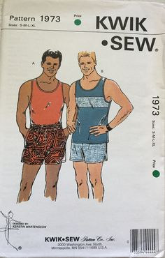 3fc63d8363e Kwik Sew 1973 Men s Tank Top   Shorts Sizes S-M-L-XL. Mens Sewing  PatternsVintage ...