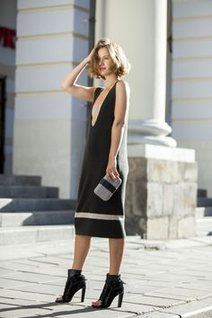 Luxury knitted dress Sarafan with deep neckline. Perfect dress for going out. Knitted dress without sleeves