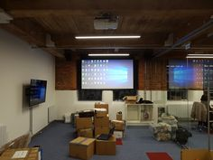 """Audio Visual Installation nearly completed at some offices in Manchester, Epson HD projector, three 55"""" Samsung 4K TV's, Kramer HDMI senders & receivers, Apart Audio speakers"""