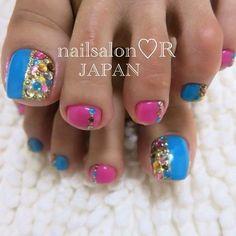Toe nail , nail art design with rhinestones Nail Art And Spa, Pedicure Nail Art, Toe Nail Art, Blue Pedicure, Nail Nail, Cute Pedicure Designs, Crazy Nail Designs, Toe Nail Designs, Pretty Pedicures