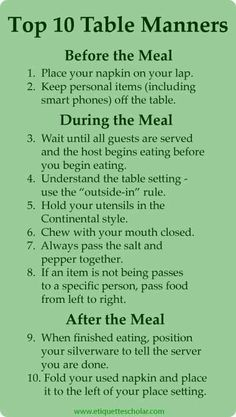 Very helpful table manners tips - Ten great table manners rules everyone needs to know. Very helpful table manners tips - Ten great table manners rules everyone needs to know. Dinning Etiquette, Table Setting Etiquette, Table Settings, Etiquette Dinner, Manners For Kids, Good Manners, Good Table Manners, Comment Dresser Une Table, Just In Case