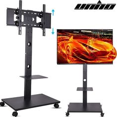 - tv stand mobile wheeled cart mount for 4k uhd led tv w/ audio xbox shelf $. - tv stands - ideas of tv stands 4k Uhd, Mobiles, Tv Stands Uk, Tv Stand With Bracket, Xbox, Wooden Tv Stands, Audio, Small Furniture, Led