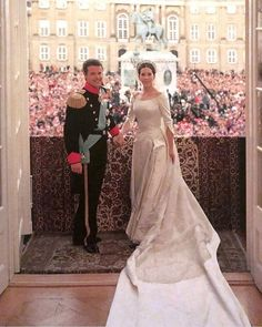 Crown Prince Frederik and Crown Princess Mary of Denmark's royal wedding Royal Wedding Gowns, Royal Weddings, Wedding Dresses, Princess Beatrice Wedding, Crown Princess Mary, Mary Of Denmark, Danish Royalty, Princesa Mary, Wedding Movies