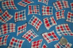 30s 40s Blue Red Flour Feed Sack Novelty Print Cotton Fabric - ebay