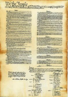 The Constitution of the United States with its 7 Articles and signers from the Colonies