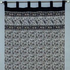 Handmade Jaipur Paisley Dabu Tab Top Curtain 100% Cotton Drape Panel 44x88