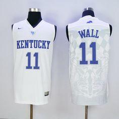 9992dfec37c Men s Kentucky Wildcats  11 John Wall White 2016 College Basketball  Swingman Jersey