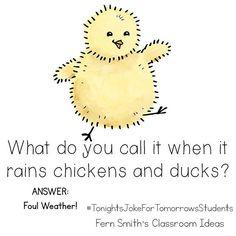 Tonight's Joke for Tomorrow's Students What do you call it when it rains chickens and ducks? Foul weather! #TonightsJokeForTomorrowsStudents⠀ #FernSmithsClassroomIdeas @sarahpecorino clip art -check her out - you will love her! ❤️ #Regram via @fernsmithsclassroomideas Mom Jokes, Funny Jokes For Kids, Corny Jokes, Rain Jokes, Rain Humor, Work Puns, Chicken Jokes, Jokes And Riddles, Cheesy Jokes
