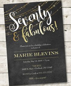 70th Birthday Invitation Fabulous Party Invitation Woman