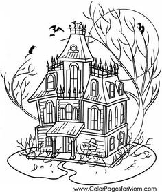 Wonderful Coloring Pages For Adults   Halloween Haunted House Coloring Page