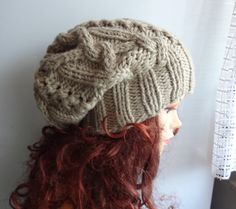 cable knit hat Unisex slouchy hat High Heat Cap  by Ifonka on Etsy
