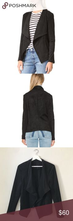 """BB DAKOTA Black Faux Suede Soft Blazer Jacket Black faux suede """"Nicholson"""" soft blazer jacket by BB Dakota. Tag has been removed but it's a size Small. Open front, ribbed stretch sleeve panels, side slit pockets. In excellent condition - only worn once! BB Dakota Jackets & Coats Blazers"""