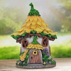 Best DIY Fairy Furniture - ideas and images Solar Fairy House, Fairy Houses, Sunflower House, Fairy Village, Fairy Garden Furniture, Mushroom House, Clay Fairies, Orange Tabby Cats, Gnome House