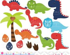 Dinosaur Clipart, Dinosaur Clip Art, Great for a Dinosaur Invitation, Dinosaur Birthday or Dinosaur Party - Commercial and Personal by PinkPueblo