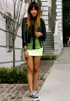 Leather jacket, sheer button down, skirt, converse