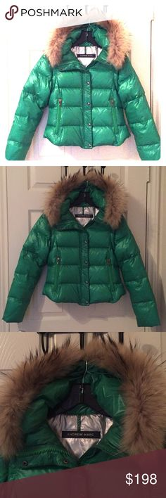 Andrew Marc Fox fur lined, goose down jacket Classic Andrew Marc coat, vibrant emerald green color, goose down puffer, fox fur lined hoodie. Removable arms, for a vest option. Andrew Marc Jackets & Coats Puffers