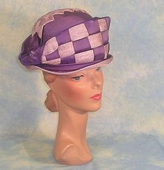 Magnificent Edwardian Purple Silk Vintage Hat