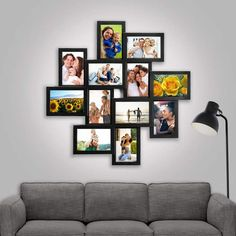Millwood Pines Eileen 12 Piece Storm Eye Selfie Gallery Collage Picture Frame Set Color: B Photo Wall Hanging, Photo Wall Decor, Family Wall Decor, Hanging Picture Frames, Hanging Pictures, Unique Picture Frames, Picture Frame Crafts, Picture Frame Sets, Photo Frame Ideas