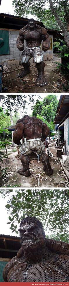 Incredible scrap metal hulk sculpture