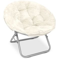 Arron Adult Faux Fur Saucer Chair (£37) ❤ liked on Polyvore featuring home, furniture, chairs, white, plush chair, folding furniture, round chair, folding chairs and white folding chairs