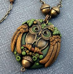 Owl Pendant Necklace One of a Kind Polymer Clay and Brass. $55.00, via Etsy.