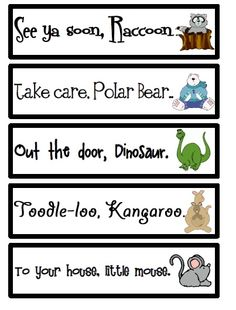 Jessie's Resources - cute ways to say goodbye at the end of the day!