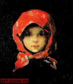 """This little girl (""""Kleines Mädchen"""" -The little girl in the red kerchief) is from the nineteenth century. She lives in this painting by Nicolae Grigorescu Art Database, Paintings I Love, Impressionism, Art History, Painting & Drawing, Amazing Art, Art Photography, Art Gallery, Illustration Art"""