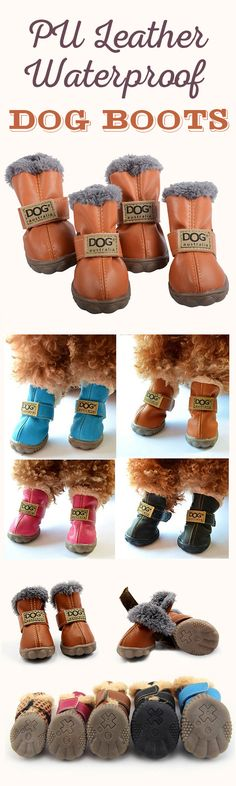 US$14.99--PU Leather Dog Waterproof Boots Winter Soft Warm Anti-slip Snow Booties Shoes 4Pcs#newchic#pet#waterproof