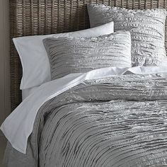 Frayed-Edge Quilt + Shams - Platinum #WestElm--LOVE this for my new master bedroom!!