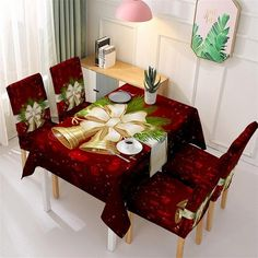 Christmas Chair Covers, Christmas Table Cloth, Christmas In Heaven, Christmas Home, Christmas Specials, Dinner Room Table, Stylish Chairs, Dining Table In Kitchen, Dining Room