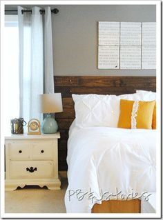 Headboard - love this.  Seems simple enough to diy