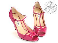 "Jimmy Choo Magenta Crushed Patent ""Rome"" T-Strap Heels"