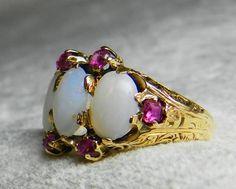 Opal Ring 22K Antique Opal Engagement Ring Georgian Ring