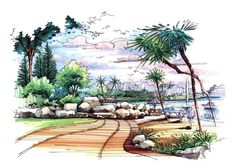 Landscape Architecture Drawing, Countryside, Marker Drawings, Art Art, Plants, Color, Pencil, Beautiful, Architecture Sketches