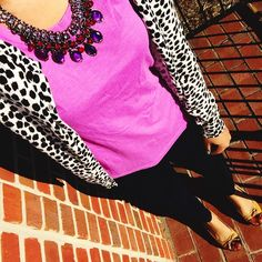 target style purple tee shirt + old navy white leopard print cardigan + charming charlie necklace + dark wash jeans + clarks flats {casual}