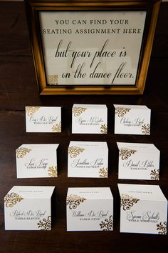 Cute escort card idea- and perfect with the pre-party dancing idea!