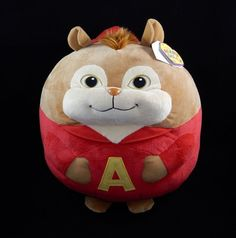 TY Beanie Ballz Large 12'' Plush ALVIN the Chipmunk Ball In Red Outfit w/Tags #TY