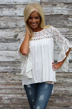 8d03c147145 Lovely In Lace Bell Sleeve Top ~ Ivory ~ Sizes 4-10 Online Fashion Boutique