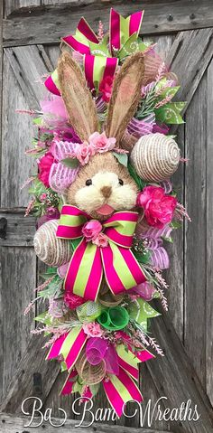 Easter Wreath, Easter Swag, Bunny Wreath, Spring Wreath, Spring Swag, Easter Door Hanging, Spring Door Hanging Here comes Peter Cottontail hopping down the bunny trail! Hippity Hop- Easters on its way! The colors of spring are so charming with this gorgeous bunny surrounded by soft