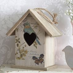 Rustic wooden Carte Postale with bird and butterfly hanging bird house. A decorative piece to hang or free stand in the home. A lovely addition to a shabby chic home and is really on trend. Decorative Bird Houses, Bird Houses Painted, Wooden Crafts, Diy And Crafts, Shabby Chic Accessories, Bird Boxes, Shabby Chic Homes, Painting On Wood, Birdhouse