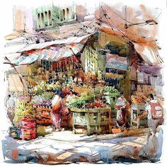 Painting by Jack Tia Kee Woon, Singapore. His painting style is very light and radiant, where the watercolors add the transparence to the picture, while acrylic make the colors look very deep.  Картина Джэка Ти Ки Вуна, Сингапур. Его стиль очень светлый и сияющий, акварели добавляют прозрачность изображению, в то время как акрил делает цвет очень глубоким.  #иллюстрация #живопись #искусство #графика #акварель #холст #масло #пастель #арт #art #illustration #pencil #drawing #draw #watercolor…