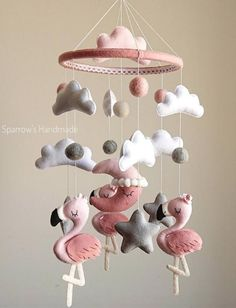 Baby girl mobile with pink Flamingo and Grey Stars white clouds moon felted mobile for newborn nursery baby shower gift idea hanging mobile