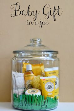 Love it! Make this Baby Gift In A Jar filled with natural baby care products and chlorine free diapers.