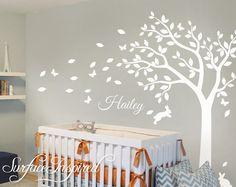 Chambre d'enfant Stickers arbre blanc mur muraux, grand arbre sticker pour chambre d'enfant avec nom personnalisé Wall Decal