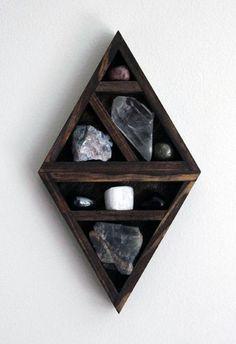 Cool Shelf With Crystals Bachelor Pad Wall Art